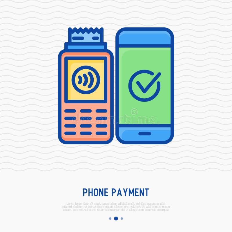 Línea fina icono del pago del teléfono libre illustration