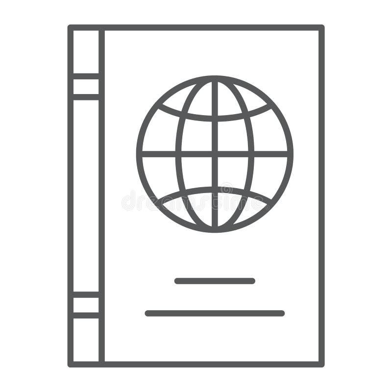 Línea fina icono del pasaporte, identificación y viaje, muestra del documento de identidad, gráficos de vector, un modelo linear  stock de ilustración