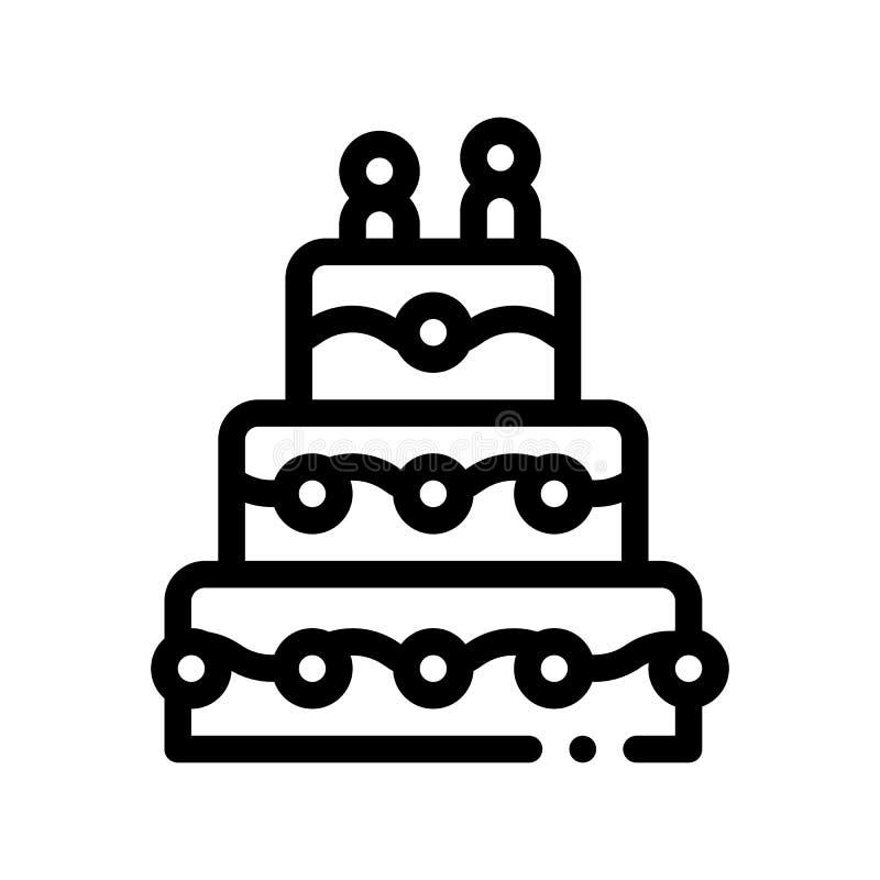 Línea fina icono del pastel de bodas de la celebración del vector ilustración del vector