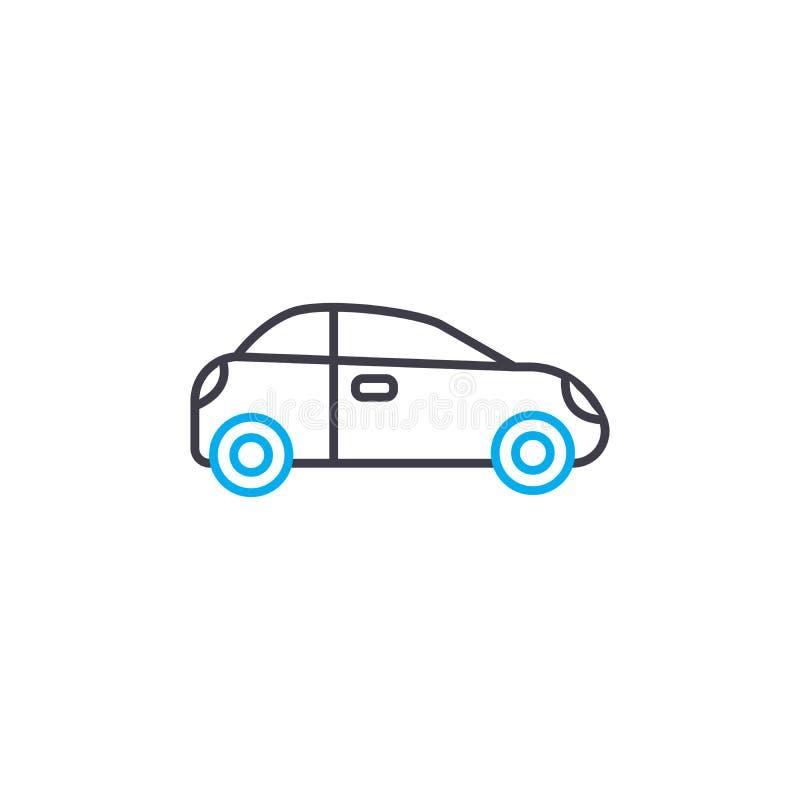 Línea fina icono del pequeño vector del coche del movimiento Pequeño ejemplo del esquema del coche, muestra linear, concepto del  ilustración del vector