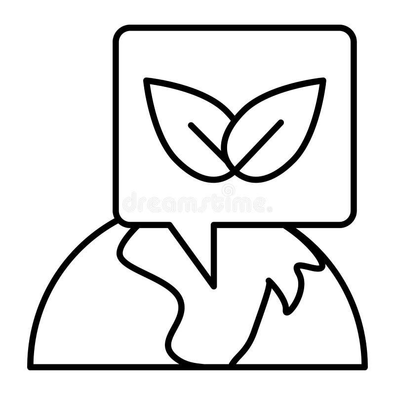 Línea fina icono del planeta de Eco Ejemplo del vector del ambiente aislado en blanco Diseño del estilo del esquema de la tierra  stock de ilustración