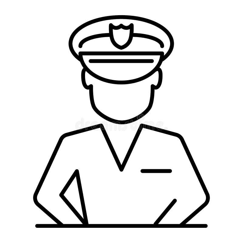 Línea fina icono del policía Ejemplo del oficial de policía aislado en blanco Diseño del estilo del esquema de carácter, diseñado ilustración del vector