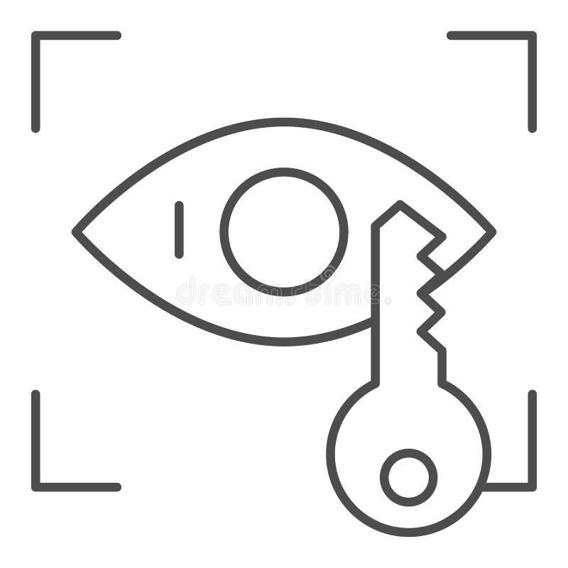 Línea fina icono del reconocimiento de la retina Identificación del ojo y ejemplo dominante del vector aislados en blanco Acceso  ilustración del vector