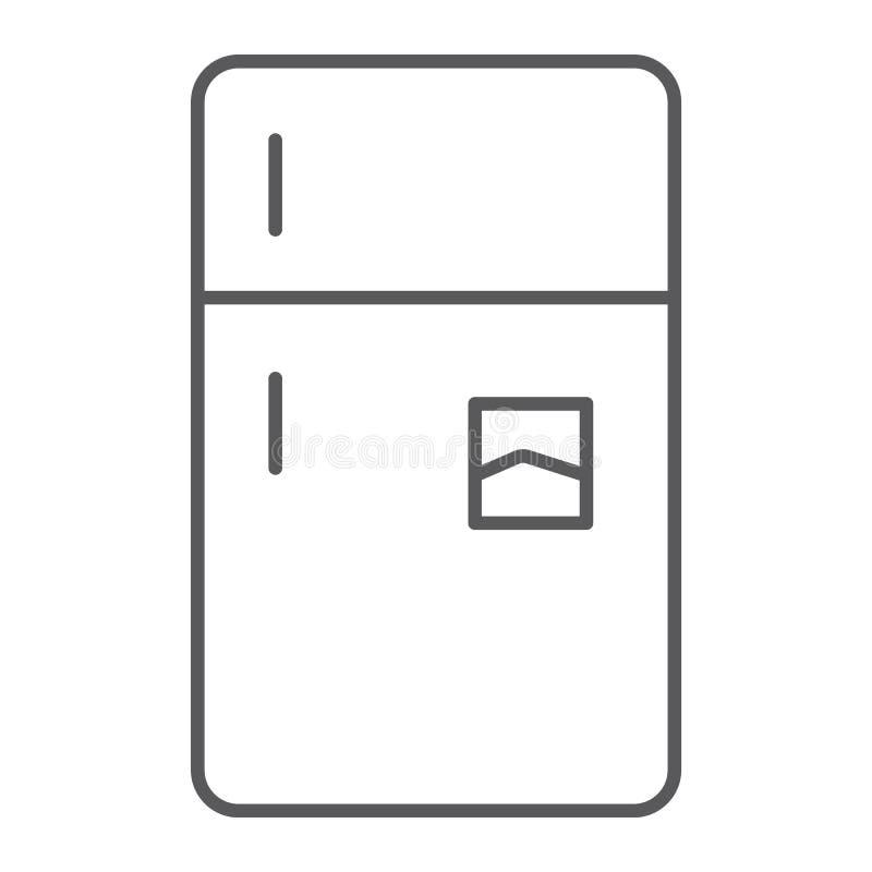 Línea fina icono del refrigerador, helada y hogar, muestra del refrigerador, gráficos de vector, un modelo linear en un fondo bla libre illustration