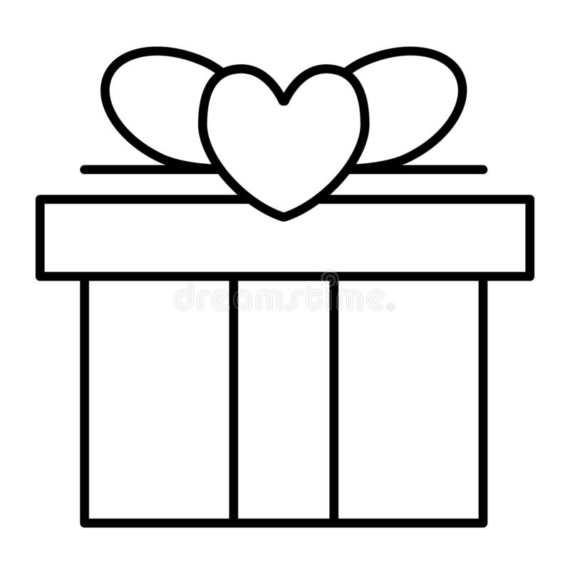 Línea fina icono del regalo de boda Ejemplo del vector del contrato de la caja de regalo aislado en blanco Diseño del estilo del  ilustración del vector