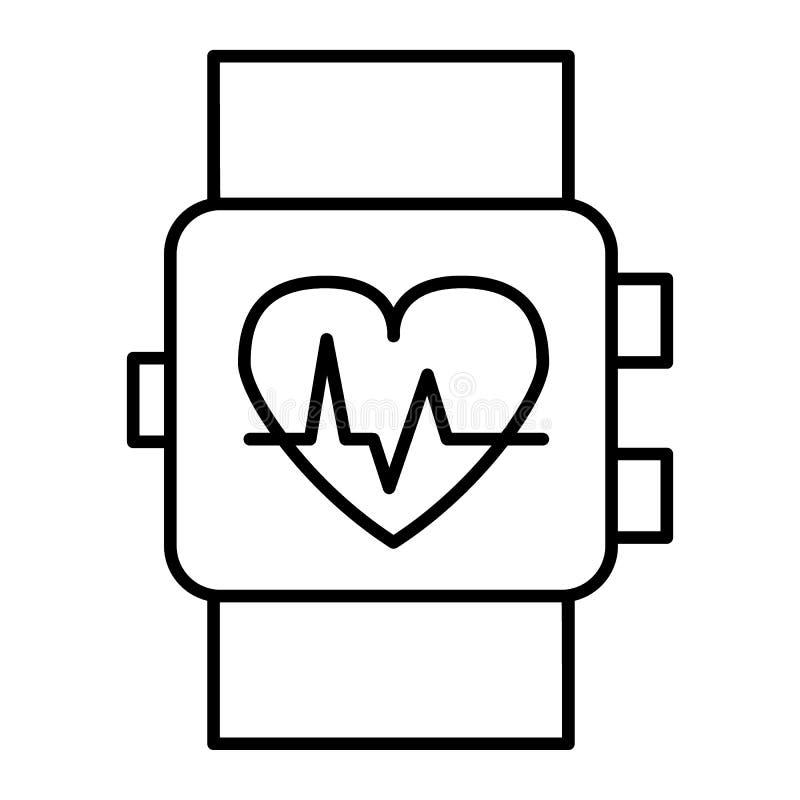 Línea fina icono del reloj elegante Ejemplo del vector del indicador del pulso de la muñeca aislado en blanco Reloj con la muestr ilustración del vector