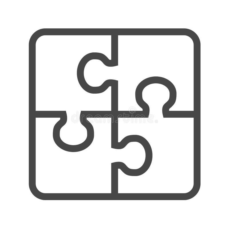 Línea fina icono del rompecabezas del vector stock de ilustración