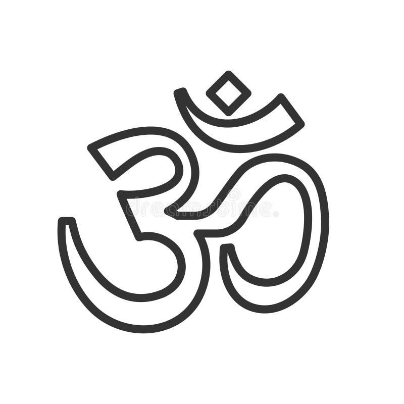 Línea fina icono del símbolo de OM Ejemplo caligráfico del vector Símbolo hindú de la yoga libre illustration