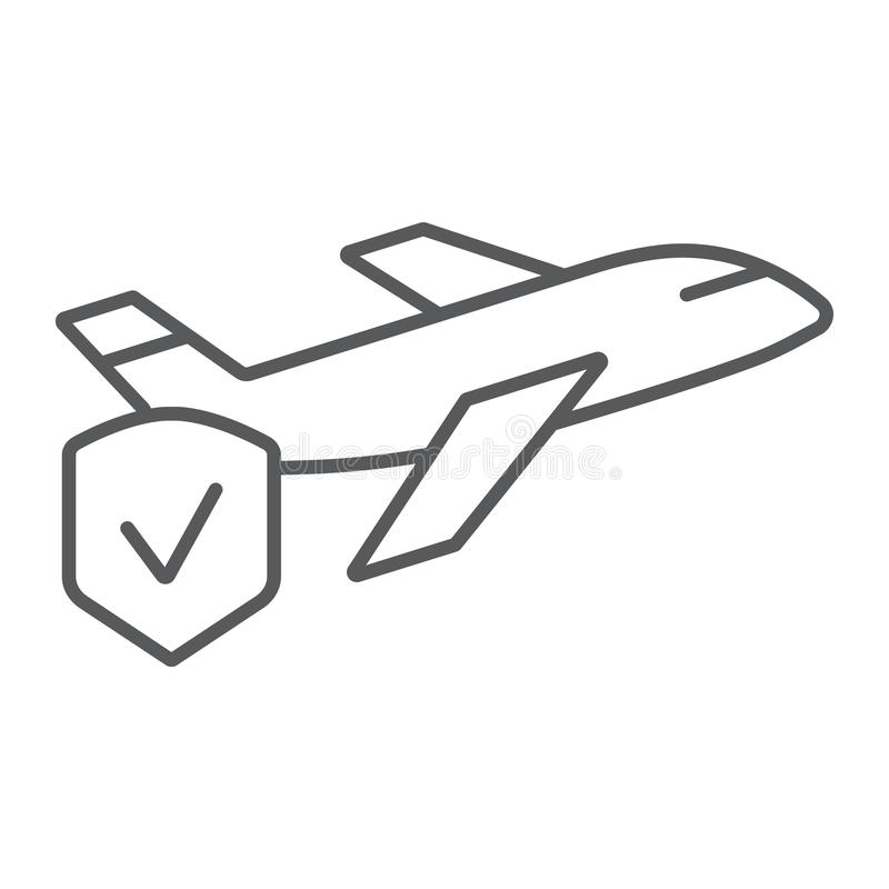 Línea fina icono del seguro del viaje, viaje y seguridad, escudo y muestra plana, gráficos de vector, un modelo linear en un blan ilustración del vector