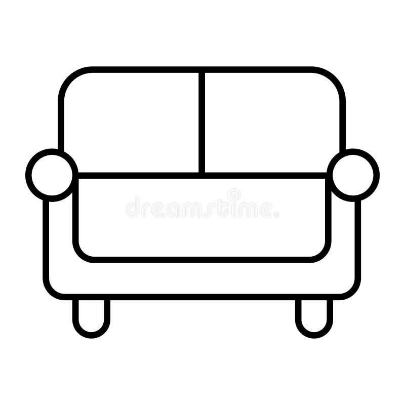 Línea fina icono del sofá Ejemplo del vector del sofá aislado en blanco Diseño del estilo del esquema del diván, diseñado para la stock de ilustración