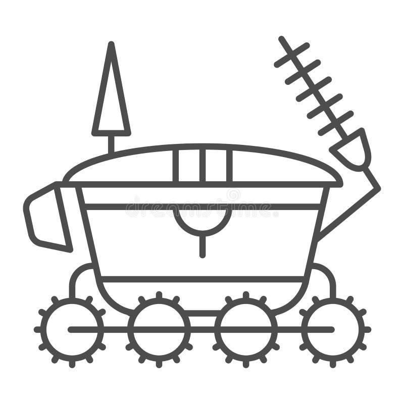 Línea fina icono del vagabundo de la luna Ejemplo del vector de la astronomía aislado en blanco Diseño del estilo del esquema del ilustración del vector