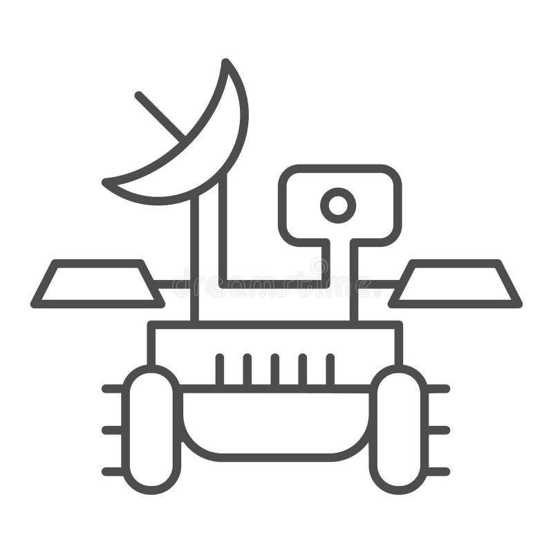 Línea fina icono del vagabundo de Marte Ejemplo del vector del viajero del módulo de la investigación aislado en blanco Diseño de stock de ilustración