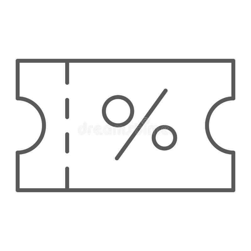 Línea fina icono del vale, etiqueta y tarjeta, muestra del descuento, gráficos de vector, un modelo linear en un fondo blanco stock de ilustración
