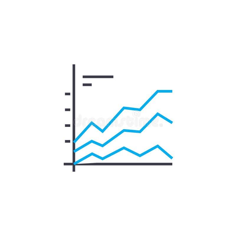 Línea fina icono del vector comparativo de la carta del movimiento Ejemplo comparativo del esquema de la carta, muestra linear, c libre illustration