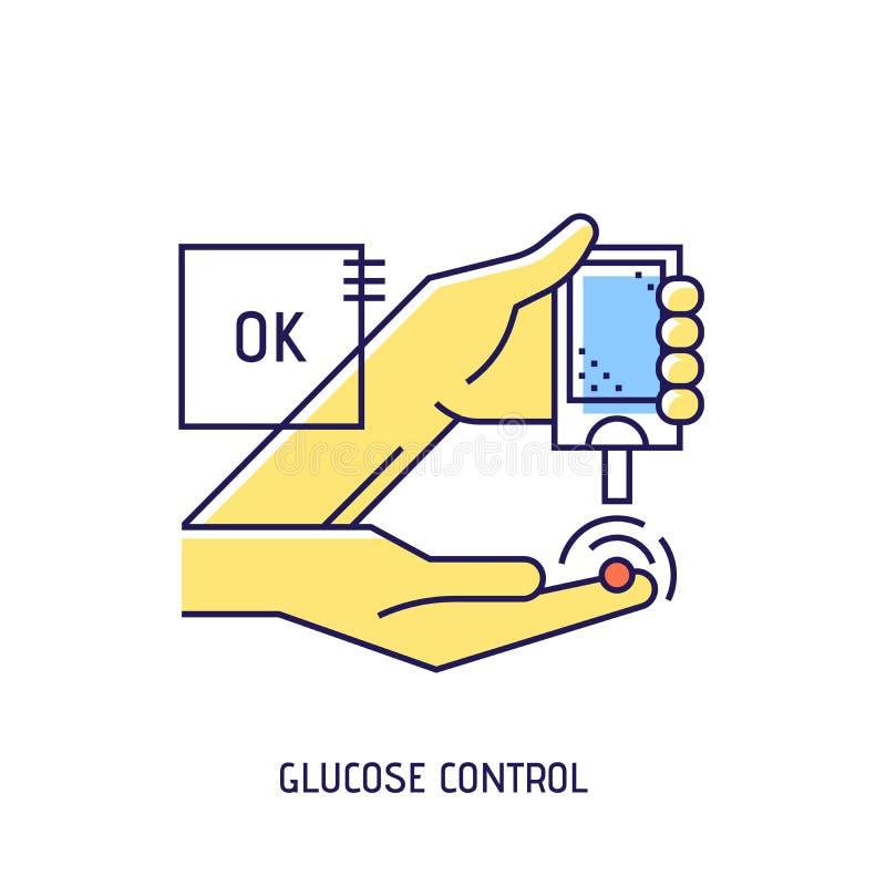 Línea fina icono del vector de la diabetes de la prueba de la glucosa en sangre ilustración del vector
