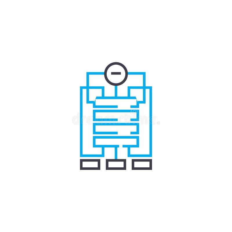 Línea fina icono del vector de la estructura de organización del movimiento Ejemplo del esquema de la estructura de organización, libre illustration