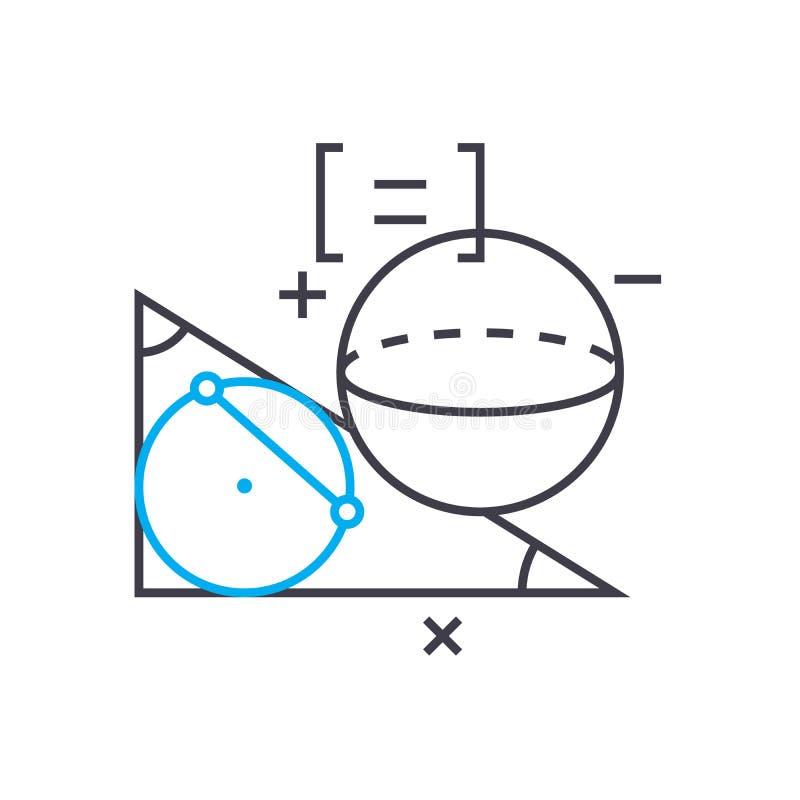 Línea fina icono del vector de la geometría del movimiento Ejemplo del esquema de la geometría, muestra linear, concepto del símb stock de ilustración