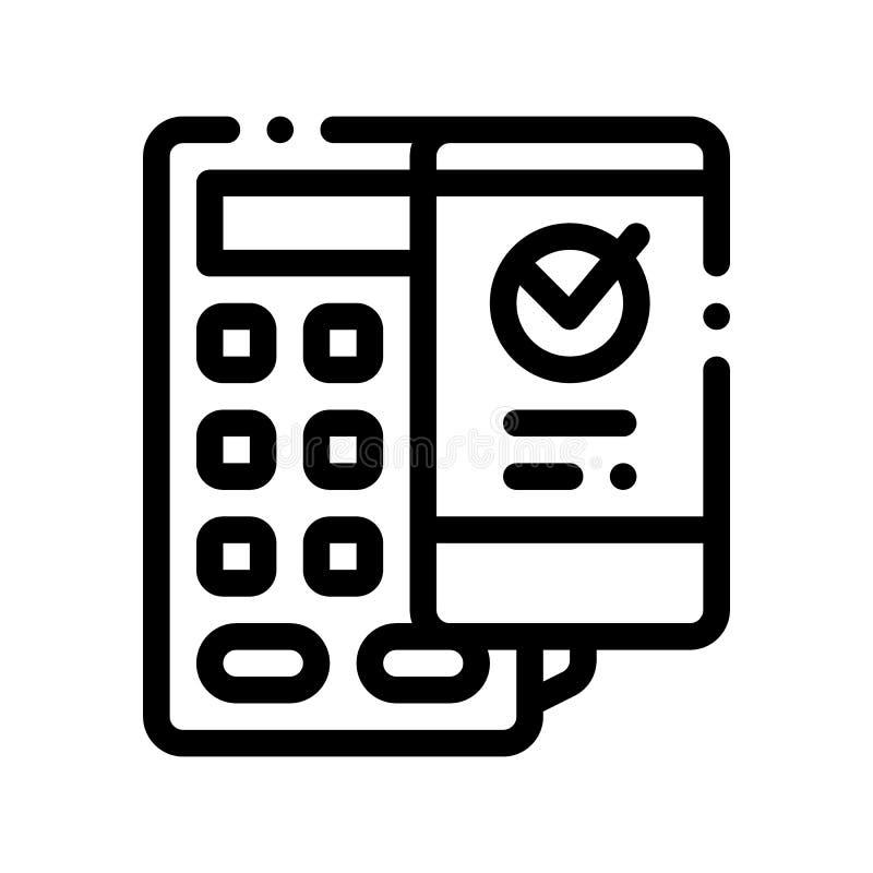 Línea fina icono del vector de Smartphone del terminal del pago libre illustration