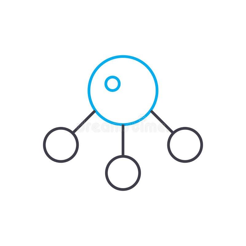 Línea fina icono del vector molecular del análisis del movimiento Ejemplo molecular del esquema del análisis, muestra linear, con stock de ilustración