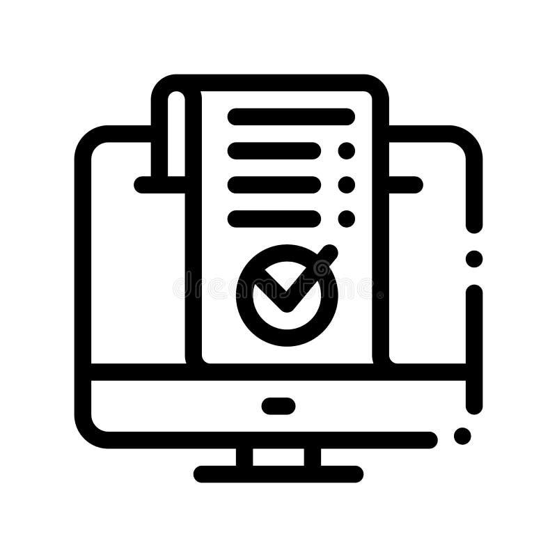 Línea fina icono del vector del pago de Internet del ordenador libre illustration