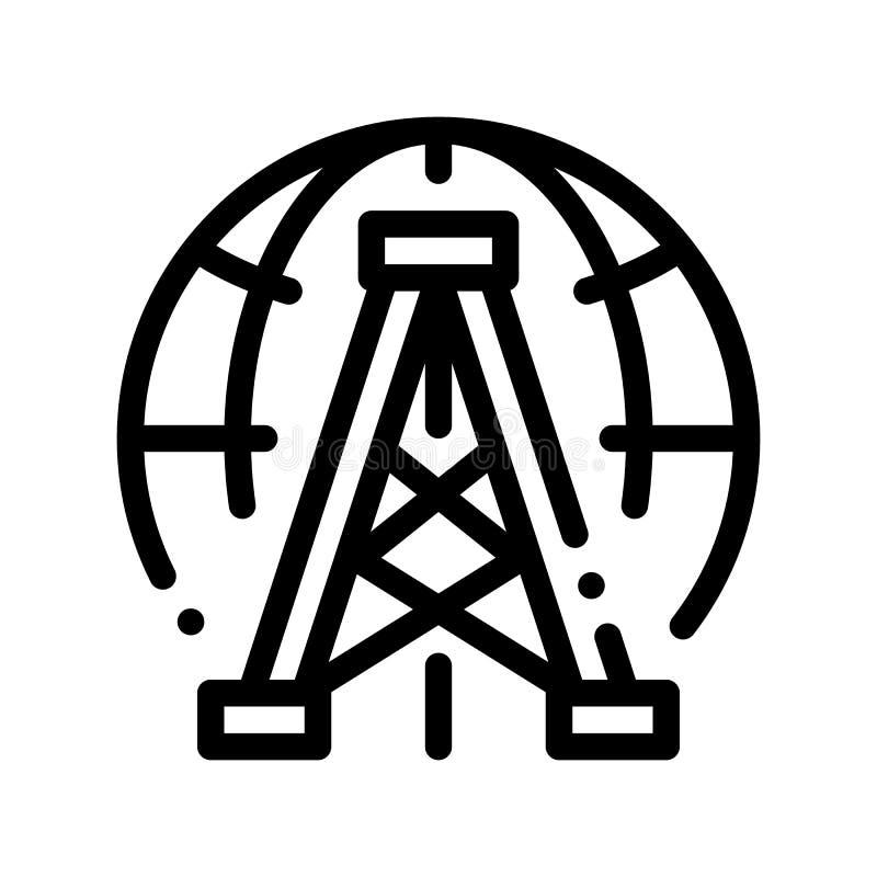 Línea fina icono del vector del problema del planeta de la Aceite-torre de perforación stock de ilustración
