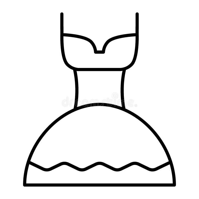 Línea fina icono del vestido de boda Ejemplo blanco del vector del vestido aislado en blanco Diseño nupcial del estilo del esquem libre illustration