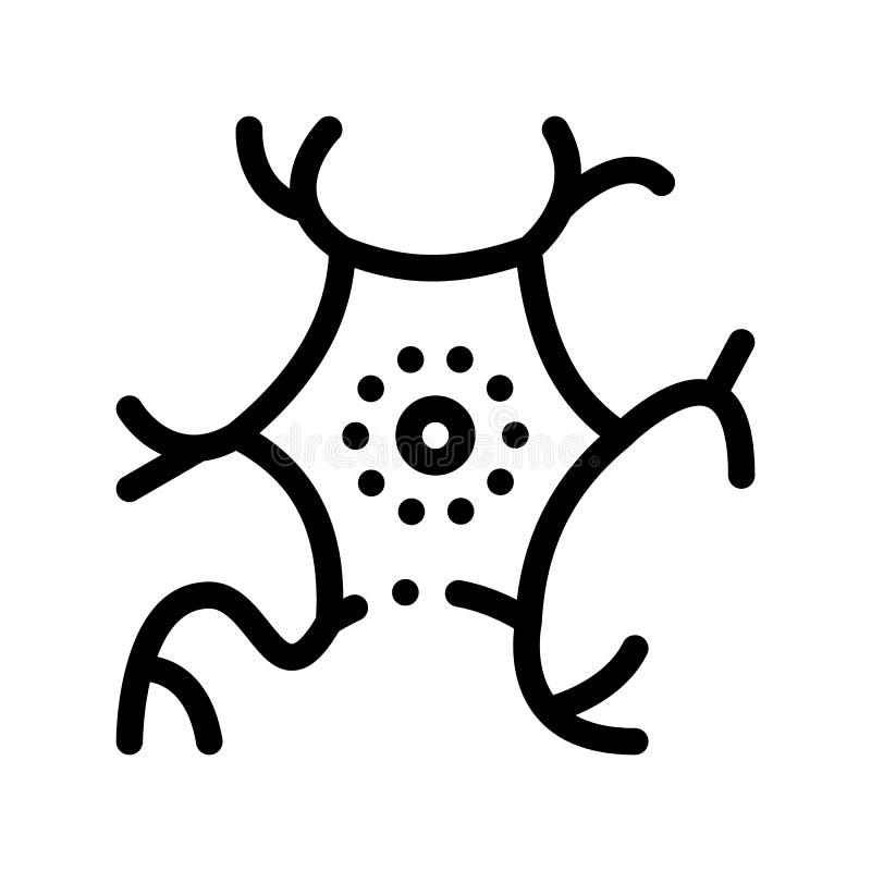 Línea fina icono del virus del vector microscópico de la bacteria stock de ilustración