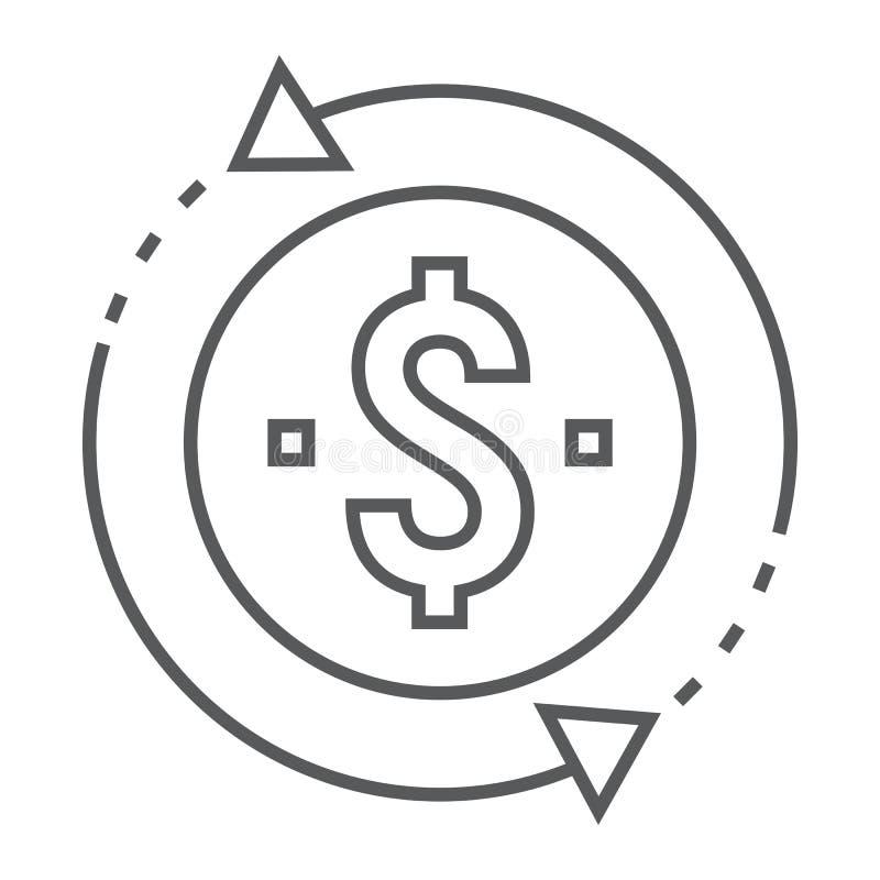 Línea fina icono, desarrollo de la rentabilidad de la inversión ilustración del vector
