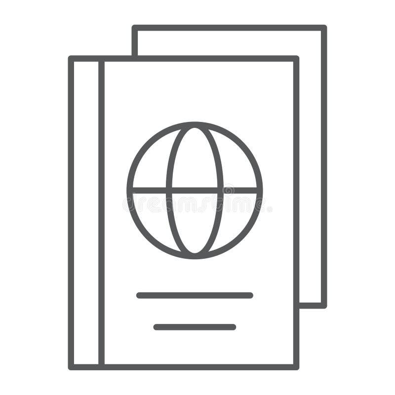 Línea fina icono, documento y viaje del pasaporte libre illustration