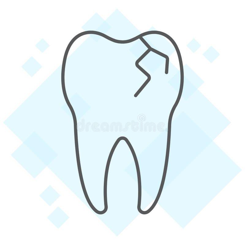 Línea fina icono, estomatología del diente agrietado dental ilustración del vector