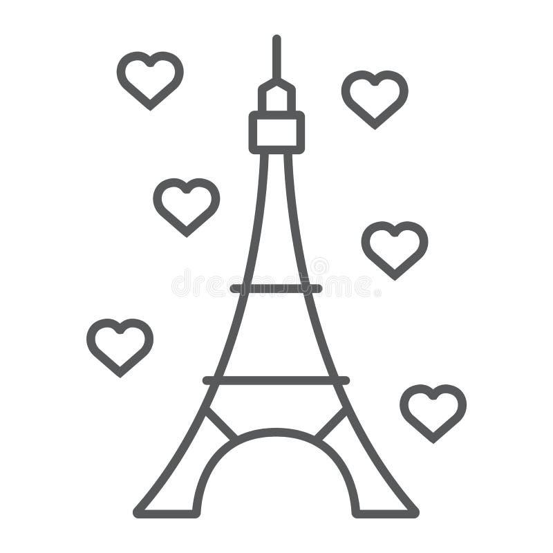 Línea fina icono, Francia y París, muestra de la arquitectura, gráficos de vector, un modelo linear de la torre Eiffel en un blan libre illustration