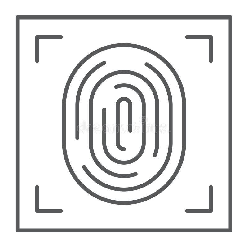 Línea fina icono, identificación y seguridad, muestra de la impresión, gráficos de vector, un modelo linear de la huella dactilar ilustración del vector
