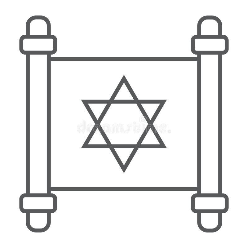 Línea fina icono, Israel y papel, muestra de la voluta, gráficos de vector, un modelo linear del torah judío en un fondo blanco libre illustration