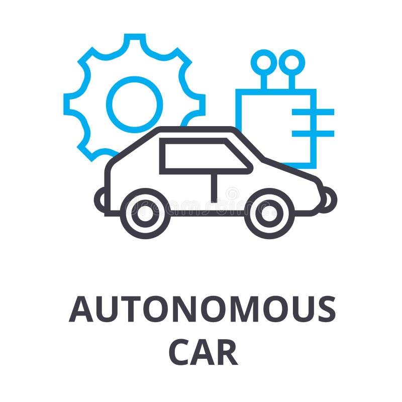 Línea fina icono, muestra, símbolo, illustation, concepto linear, vector del coche autónomo ilustración del vector
