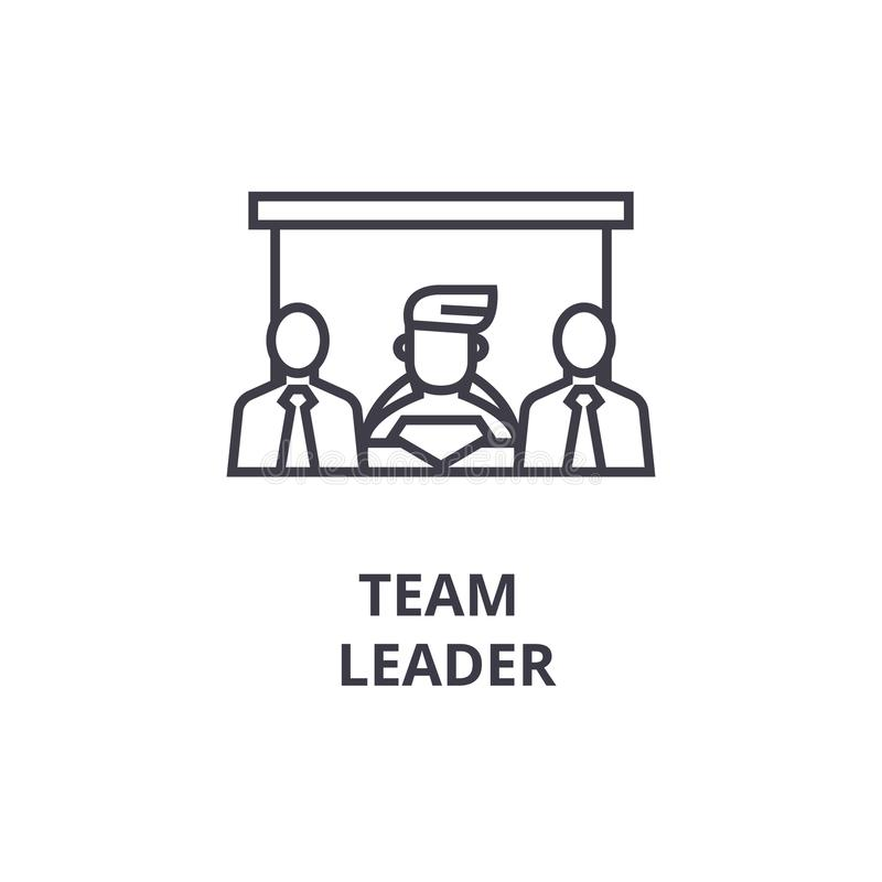 Línea fina icono, muestra, símbolo, illustation, concepto linear, vector del líder de equipo ilustración del vector