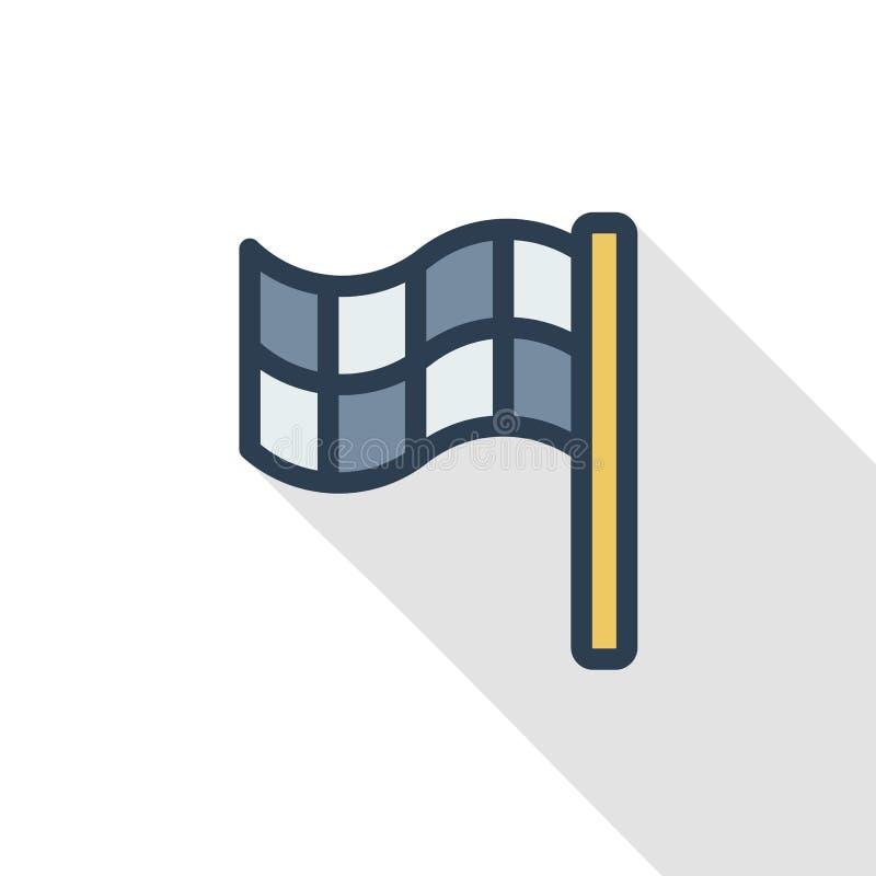 Línea fina icono plano de la bandera del final del color Símbolo linear del vector Diseño largo colorido de la sombra ilustración del vector