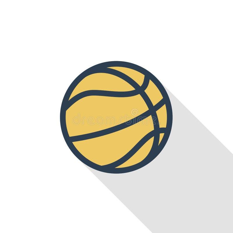 Línea fina icono plano de la bola del baloncesto del color Símbolo linear del vector Diseño largo colorido de la sombra ilustración del vector