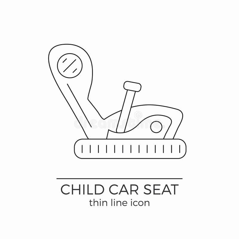 Línea fina icono plano del asiento de carro del niño del vector libre illustration