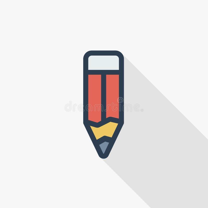 Línea fina icono plano del lápiz del color Símbolo linear del vector Diseño largo colorido de la sombra stock de ilustración
