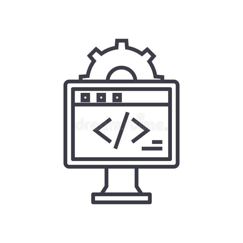 Línea fina icono, símbolo, muestra, ejemplo del vector del concepto del desarrollo web en fondo aislado libre illustration