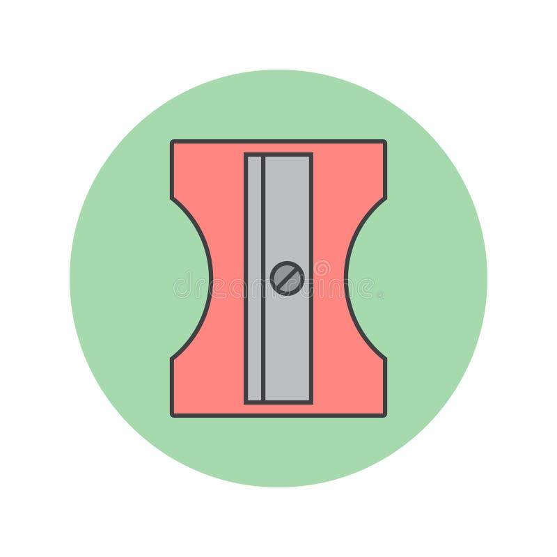 Línea fina icono, vecto llenado inmóvil de los sacapuntas de lápiz del esquema ilustración del vector