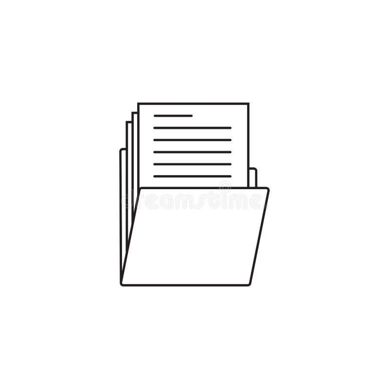 Línea fina icono, vector de la carpeta del esquema de la cartera ilustración del vector