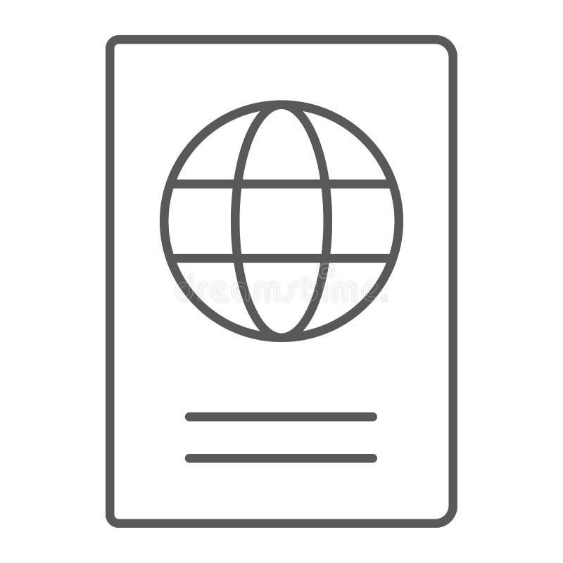 Línea fina icono, viaje y turismo del pasaporte libre illustration