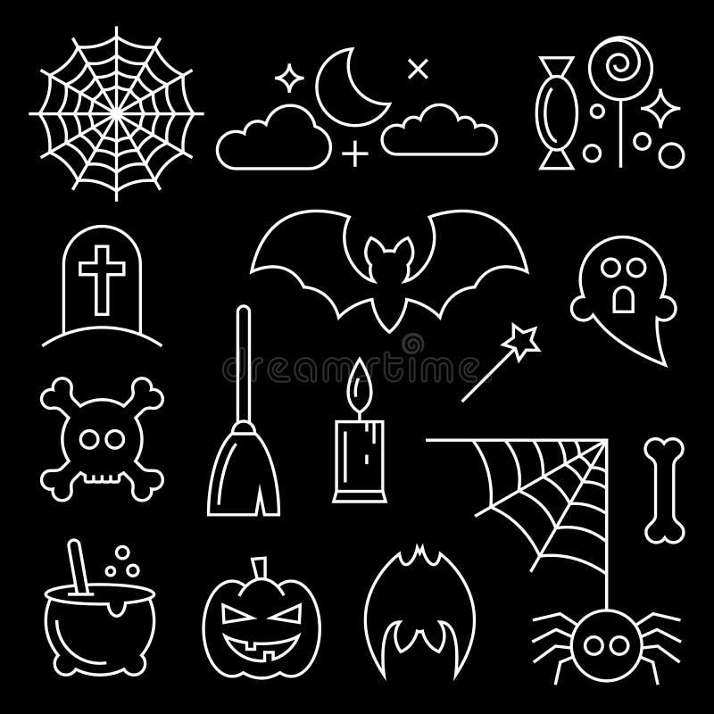 Línea fina iconos de Halloween fijados ilustración del vector
