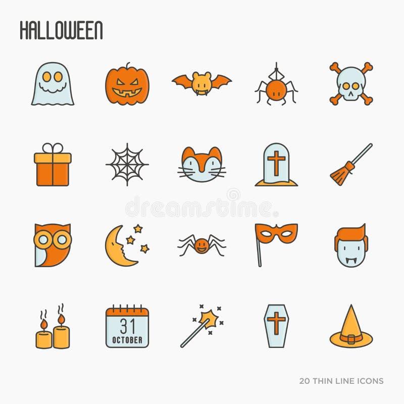 Línea fina iconos de Halloween de la historieta fijados ilustración del vector