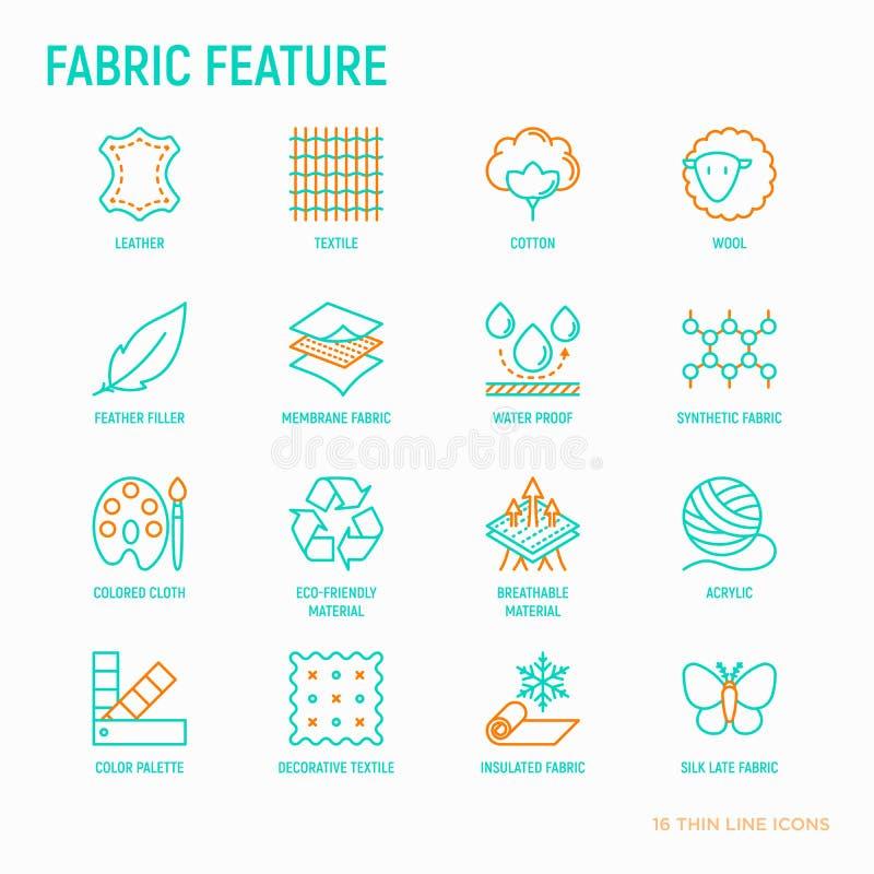 Línea fina iconos de la característica de la tela fijados ilustración del vector