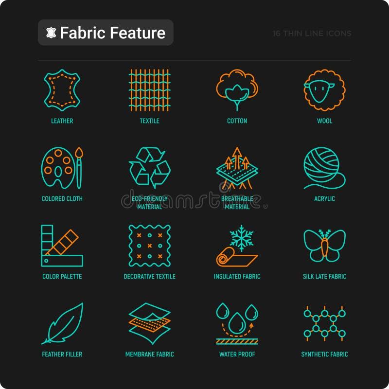 Línea fina iconos de la característica de la tela fijados libre illustration