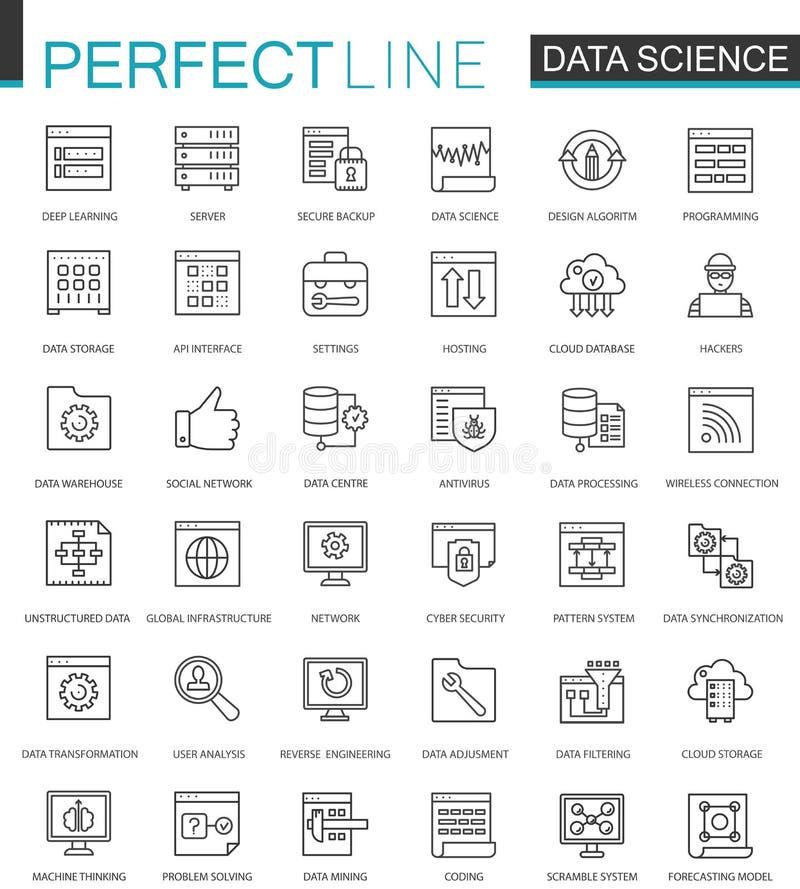 Línea fina iconos de la ciencia de los datos del web fijados Diseño de los iconos del movimiento del esquema del análisis de dato ilustración del vector