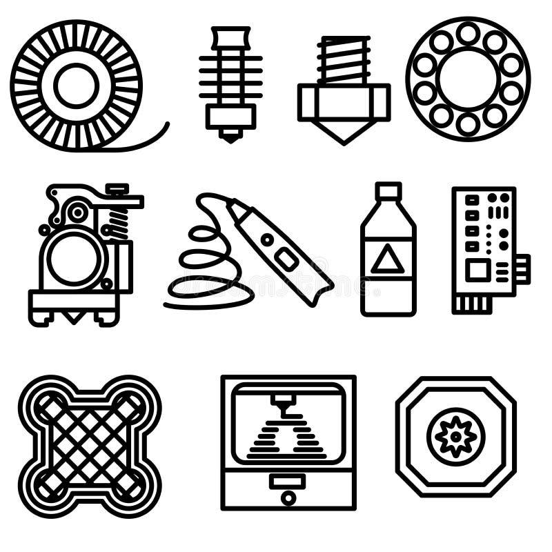Línea fina iconos de la impresión de 3D fijados stock de ilustración