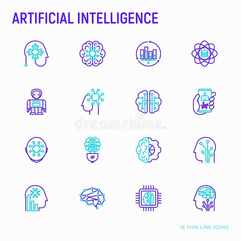 Línea fina iconos de la inteligencia artificial fijados ilustración del vector